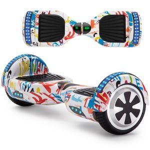 Hoverboard Weiß 6,5 Zoll Elektro Scooter Bluetooth Lautsprecher 2 Rädern LED E-skateboard