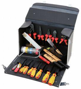 KS Tools Elektriker-Werkzeugkoffer,30-tlg.schwarzer Rinderlederkoffer, 117.0180