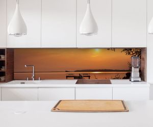 Aufkleber Küchenrückwand Steg Landschaft See Folie selbstklebend Dekofolie Fliesen Möbelfolie Spritzschutz 22A1090, Höhe x Länge:60cm x 150cm
