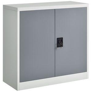 Juskys Aktenschrank Office 90 x 90 cm – Metallschrank abschließbar mit 2 Türen, Zylinderschloss & 3 Fächern – Büroschrank halbhoch in Weiß & Grau