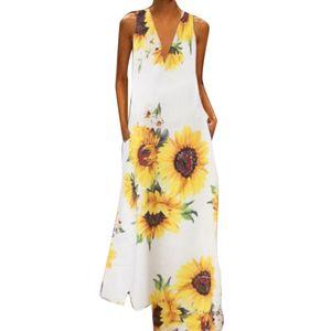 Frauen Boho Summer V-Ausschnitt Ärmellose Taschen mit großem Saum Langes Kleid , Weiß XXXL