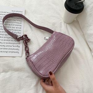 Linuode Crocodile Pattern Baguette Handtasche für Damen 2021 Candy Color Chain Damen Kleine Umhängetaschen Modedesign Leder Achselhöhle Tasche