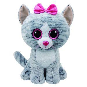 TY Beanie Boos 42cm XL Glubschi Kiki Katze Grau mit Rosa Schleife Stofftier groß