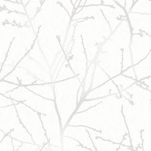 Superfresco Easy - Zweig - Weiß/Hellgrau - Vliestapete - 10m x 52cm