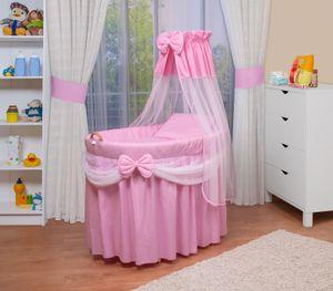 WALDIN Baby Stubenwagen-Set mit Ausstattung, XXL, Bollerwagen,komplett, 6 Modelle wählbar, Farbe:rosa/weiß