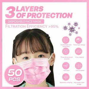 50x Kinder Einwegmasken Rosa Kindergesichtsmaske Einweg-3-lagige Mundmaske
