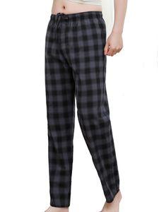 ydance Herren Kariert Loose Pants Pyjamahosen Lässig Nachtwäsche Homewear Hose,Farbe:Grau Schwarz,Größe:M
