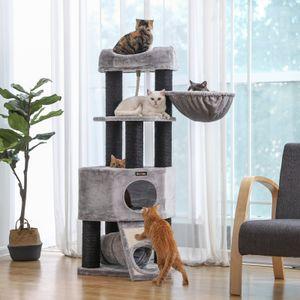FEANDREA Kratzbaum 141cm hellgrau mit extra dicken Stämme aus Sisal Plüsch Holz Katzenbaum Kletterbaum für großen Katzen umwickelt PCT02W