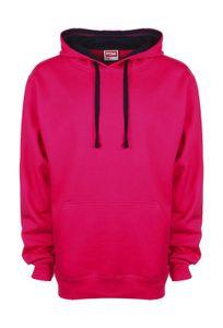 FDM Herren Contrast Hoodie Kapuzenpullover Sweater, Größe:XL, Farbe:Fuchsia/Navy