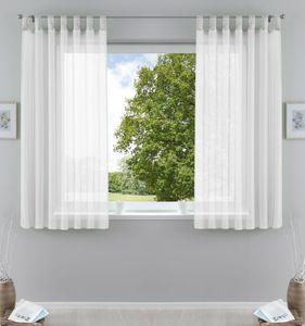 2er-Pack Gardinen Transparent Vorhang Set Wohnzimmer Voile Schlaufenschal mit Bleibandabschluß HxB  175x140 cm Weiß, 61000CN