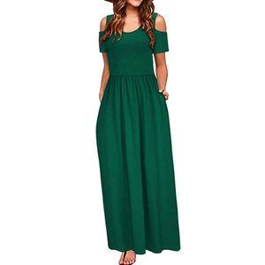 Frauen Sommer kalte Schulter Blumendruck Elegantes Maxi Langes Kleid Taschenkleid Größe:XXL,Farbe:Grün