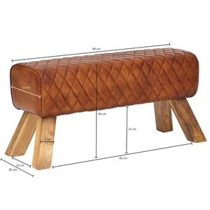 WOHNLING Sitzbank Echtleder / Massivholz 89x46x35 cm Leder Modern Turnbock | Springbock Lederhocker | Sitzhocker Turnbank Gepolstert