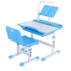 Kinderschreibtisch Jugend Schülerschreibtisch Satz mit LED Leselampe & Stuhl Maltisch Zeichentisch Höhenverstellbar Neigbar 45° Blue