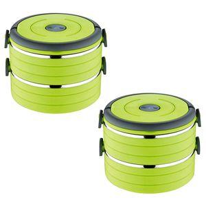 2er Set Lunchbox  Mit 2 Etagen Grün   Vesperbox Edelstahl Behälter   Frühstücksdose Vesperdose Proviantbox Auslaufsicher