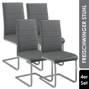 Juskys Freischwinger Stuhl Vegas 4er Set | Kunstleder Bezug + Metall Gestell | 120 kg belastbar | grau | Esszimmerstühle Schwingstühle