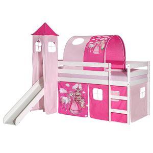Rutschbett BENNY weiß mit Vorhang + Turm + Tunnel PRINZESSIN pink/rosa
