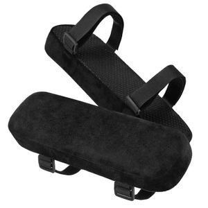 Stuhl-Armlehnenpolster,2 Pack gepolsterte Armlehnenpolster mit Memory-Foam-Ellbogenkissen zur Druckentlastung der Unterarme (Schwarz)