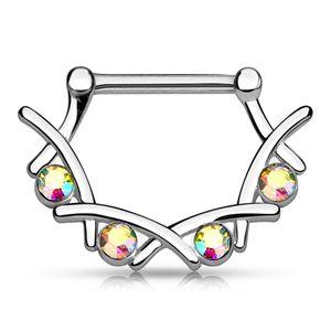 Brustwarzen Piercing mit Zirkonia Kristallen Nippelpiercing Brustpiercing Strass Nipple Barbell Autiga® silber-aurora-borealis 1,6 mm
