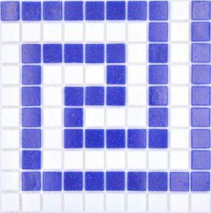 Mosaikfliese Bordüre Glas weiß dunkelblau papierverklebt Poolmosaik Schwimmbadmosaik MOSMB-BO16P