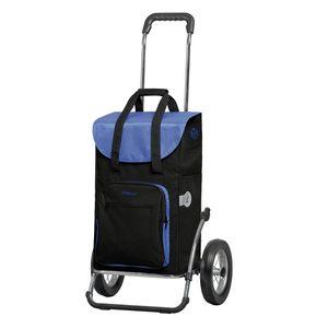 Andersen Einkaufstrolley Royal mit Metallspeichenrad 25 cm und 45 Liter Einkaufstasche Wismar schwarz/blau mit Kühlfach Einkaufswagen Stahlgestell klappbar