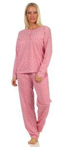 Damen Pyjama lang zweiteiliger Schlafanzug mit Muster, Altrosa XXL