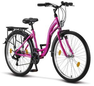 Licorne Bike Stella Premium City Bike in 24, 26 und 28 Zoll - Fahrrad für Mädchen, Jungen, Herren und Damen - Shimano 21 Gang-Schaltung - Hollandfahrrad , Farbe: Rosa, Zoll:26