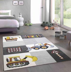 Spiel Teppich Kinderzimmer Baustelle Straßenschilder Bagger Kran creme grau gelb Größe - 120 cm Rund