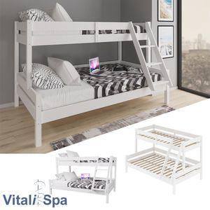 VitaliSpa Kinderbett EVEREST Etagenbett Weiß Hochbett Spielbett Massiv Stock Bett 90x200 / 140x200