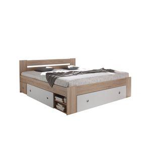 50-021-68 STEFAN Eiche Sonoma Sägerau / weiß Bett Jugendbett Kastenbett Einzelbett Doppelbett Gästebett mit Schubladen 140 x 200 cm ohne Rost, ohne Matratze