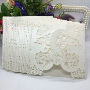 20ST romantische Hochzeit Einladungskarte zart geschnitzt Herz Muster Dekoration