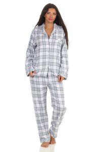 Damen langarm Flanell Pyjama Schlafanzug kariert - 202 201 15 602, Farbe:Karo blau, Größe:48/50