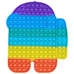 Große Regenbogenfarben Push Pop It Pop Bubble Spielzeug,Verwendet für Autismus, Stress Abzubauen Braucht zappeln Spielzeug(Among us A)
