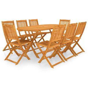 Luxus Esstisch Set für Garten, Garten-Essgruppe Sitzgruppe 8 Personen, 9-TLG. Gartengarnitur Klappbar Terrassenmöbel, Massivholz Akazie☆5030