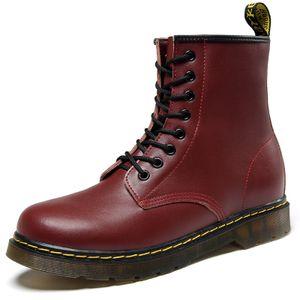 Damen Herren Flache Schuhe Low-Heels Kunstleder Britischer Stil Plus Baumwolle Martin Stiefel,Farbe: Rot,Größe:43