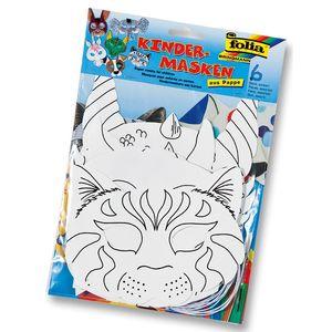 Folia Kindermaske 'Tiere' aus Pappe, mit Gummi, weiß (6 Stück)