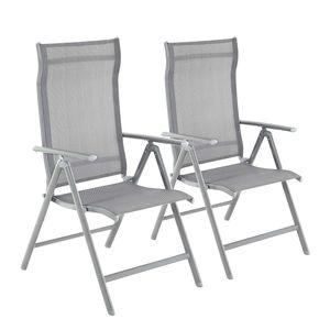SONGMICS 2er Set Gartenstühle Klappstühle Rückenlehne 8-stufig verstellbar mit robustem Aluminiumgestell bis 150 kg belastbar grau GCB29GY