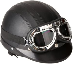 Motorrad Roller Open Face Halbes Leder-Helm Winter Winddichter Helm mit Visier UVschutzbrille Retro Vintage Style 54-60cm