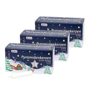 3 Packungen WEISS je  50 Pyramiden Kerzen Fa. EWA / JEKA