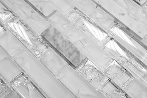 Handmuster Mosaikfliese Transluzent weiß Verbund Glasmosaik Crystal Stein weiß MOS87-V1311_m