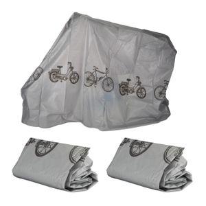 relaxdays 3 x Fahrradgarage grau, Schutzhülle, Abdeckung, robust, wetterfest, Staubschutz