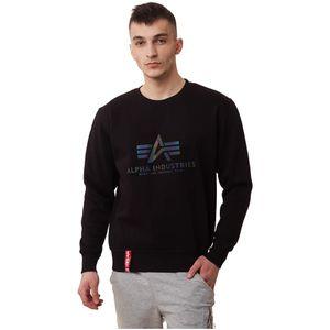 Alpha Industries Herren Sweater Basic Logo Rainbow Ref. Print schwarz XL