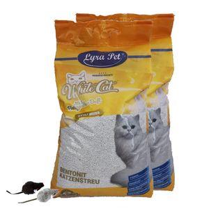2 x 15 Liter Lyra Pet® White Cat® Katzenstreu + 2 Mäuse