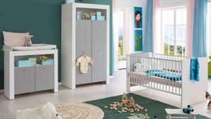 Babyzimmermöbel WilsonBaby Weiß Melamin Lichtgrau Melamin