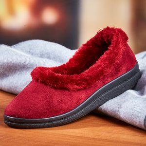 Hausschuh mit Warmfutter und Fellrand, rot, Größe:41