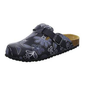 Alyssa Damen-Clog mit Tieffußbett Schwarz mit Blumenmuster, Farbe:schwarz, EU Größe:39