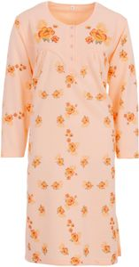 Lucky Nachthemd Damen Thermo Langarm Blumen Winter Knöpfe Größe M L XL XXL, Größe:L, Farbe:Apricot