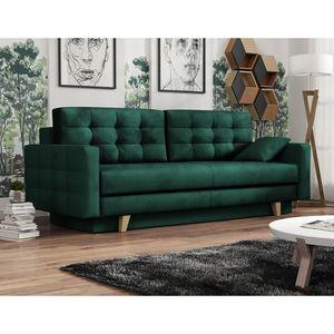 Selsey Schlafsofa VERAT - Sofa mit Bettkasten, Veloursbezug in Dunkelgrün, Holzbeinen, Liegefläche 200 x 143 cm