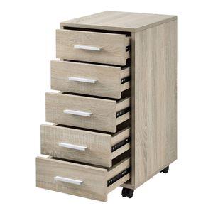 [en.casa] Rollcontainer mit 5 Schubladen Rollschrank in Sonoma-Eiche Optik Rollwagen 63x33x38cm Schubladencontainer Bürocontainer