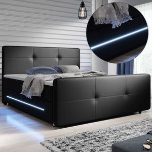 Juskys Boxspringbett Oakland 180 x 200 cm – LED Beleuchtung, Bonell-Matratzen, Topper & Kunstleder – 58 cm Komforthöhe – schwarz – Bett Doppelbett