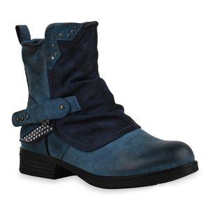 Mytrendshoe Damen Stiefeletten Biker Boots Leicht Gefüttert Nieten Blockabsatz 835408, Farbe: Blau, Größe: 38